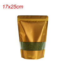 Free Fast Shipping 17x25cm Embossed Gold Food Bag Grip Seal Bulk Snack Nut Storage Mylar Foil Plastic Packing Pouches