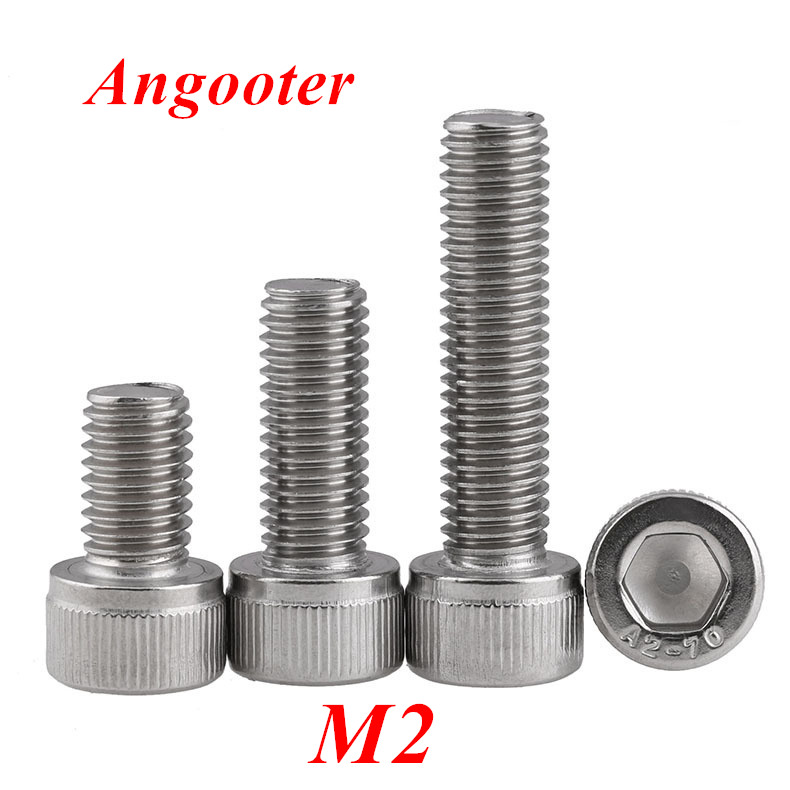 100pcs DIN912 Thread <font><b>M2</b></font> Hexagon Socket Hex Head Cap Screw Scrwes 304 Stainless steel <font><b>M2</b></font>*3/4/5/6/8/10/12/14/16/18/20/25/<font><b>30mm</b></font> image