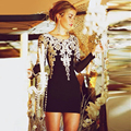 Gold Embroidered Black Cocktail Dresses Couture Short Party Homecoming Dresses Long Sleeve Vestido De Festa Curto De Luxo