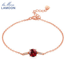 Lamoon S925 Sterling-silver-jewelry Bangle For Women 100% Natural Gemstone Red 7mm Garnet Luxury Bracelet Accessories LMHI008