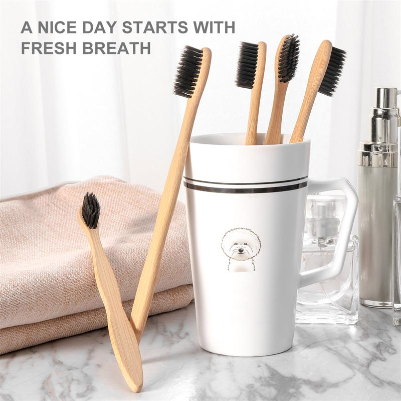 5PCS Soft Bristle Biodegradable Bamboo Organic Eco-Friendly Toothbrushes Toothbrush Set For Men Home Women image