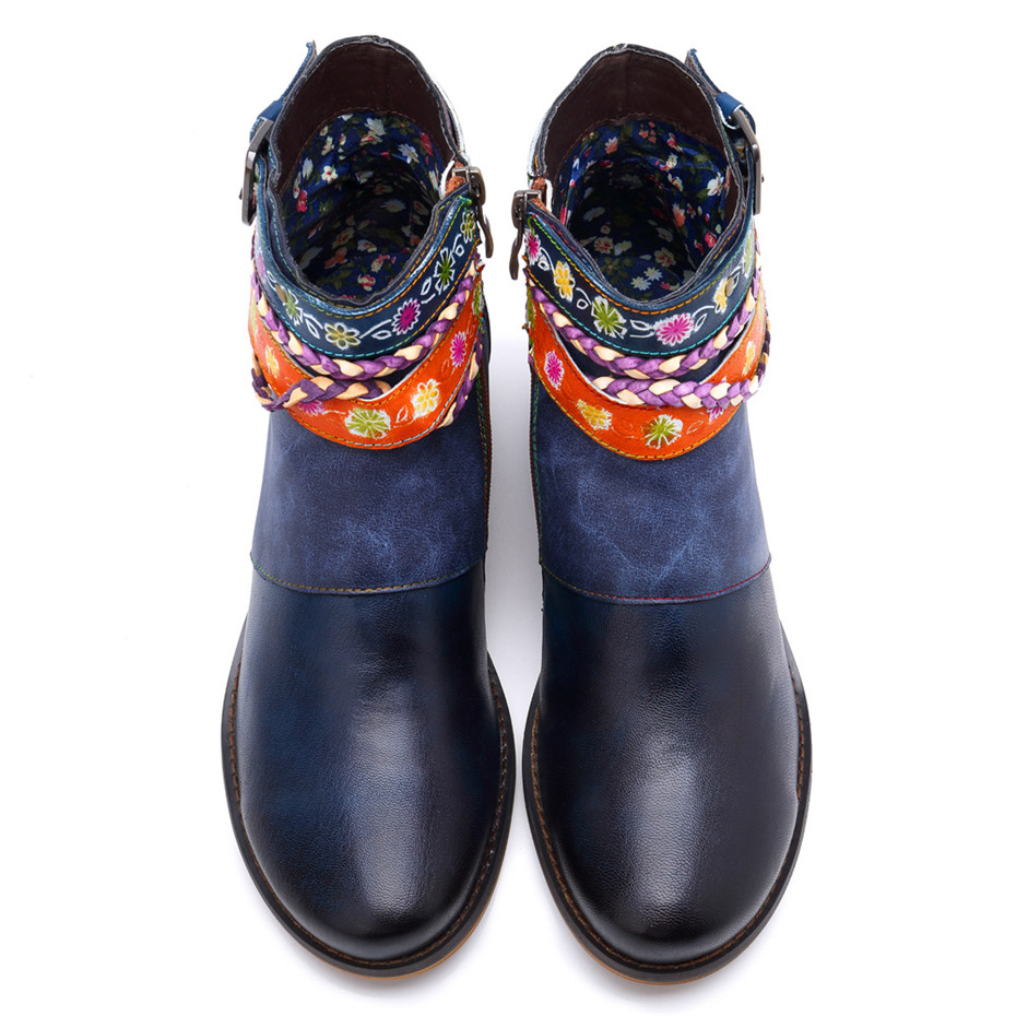 Vintage Bohemian Women Ankle Boots Shoes Side Zip Med Heels Ladies Shoes  Booties Genuine Leather Short Boots Shoe Woman (2)