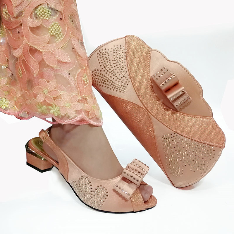 Peach Color 2019 African Shoes For Women Shoes Bag Set Evening Shining Crystal Italian Shoes With Matching Bag Shoes And Bag Set