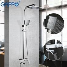 Gappo 화이트 옻칠 샤워 수도꼭지 욕조 수도꼭지 욕실 샤워 욕조 믹서 벽 마운트 강우량 샤워 세트 믹서 탭 키트