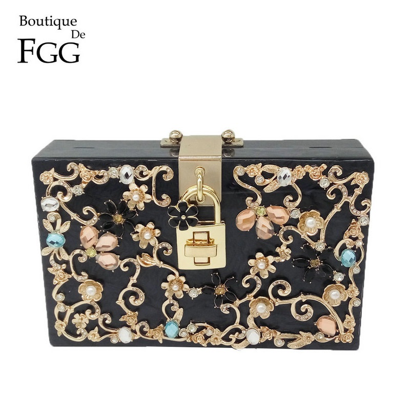 Flower Crystal Beaded Women Black Acrylic Evening Wedding Box Clutch Bag Ladies Fashion Chain Shoulder Crossbody Handbags Purse fashion box evening bag oil painting flower black lock clutch bag strap mini tote bag ladies purse trunk white women handbags