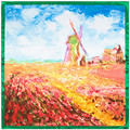 "New Women Scarf Rayon 35"" 90cm Hijab The Windmill Painting House Pattern Luxury Hand Towel Brand Silk Scarf for Female SP167142"