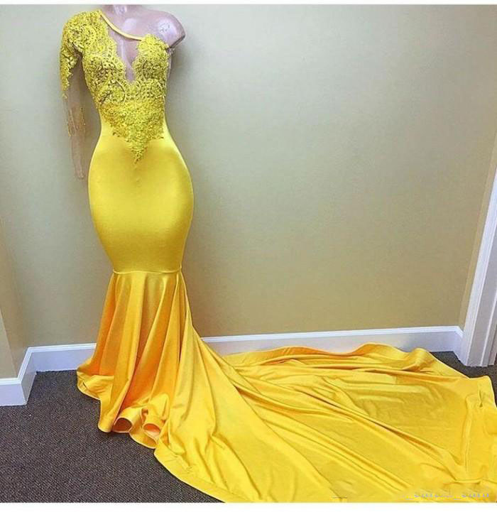 Sexy Yellow One shoulder Long Sleeve Black Girls Prom Dresses 2018 Appliques Lace Evening Dress Elastic Satin Mermaid African Pa in Evening Dresses from Weddings Events