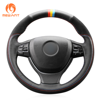 MEWANT Black Genuine Leather Hand Sew Steering Wheel Cover for BMW F10 F11 (Touring) F07 (GT) F12 F13 F06 F01 F02