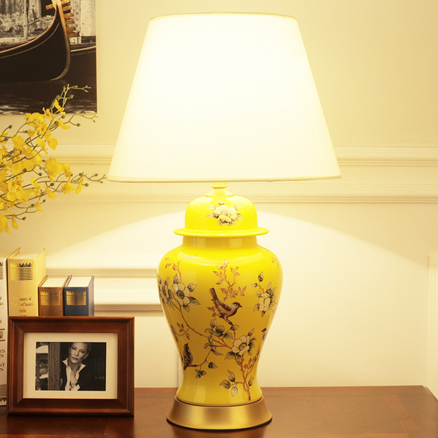 American gold ceramic table lamp luxury fabric of modern table lamps living room bedroom bedside lamp