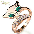 VOGEM Gold 585 Fox Promise Rings for Women Rose Gold Plated Green Stone AAA+ Zircon Turkish Jewelry Christams Ring Bague Femme
