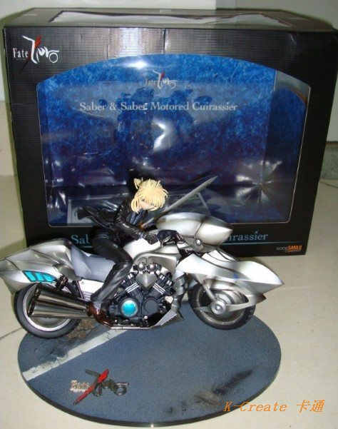 ФОТО 1pcs Japan anime pvc Fate/Stay Night Saber motorcycle rider cuirassier on suit style action figure toys tall 25cm toy.