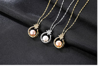 Simple jewerly fashion woman S925 sterling silver necklace with natural pearl pendant
