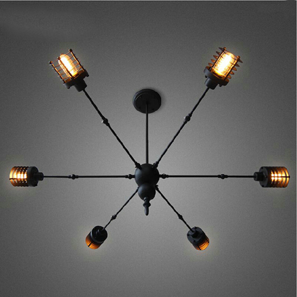 Iron 6 heads spider Pendant Lamp Modern Loft Vintage industrial Edison Bulbs Bar Restaurant Bedrooms Large Shopping E27 edison loft style vintage light industrial retro pendant lamp light e27 iron restaurant bar counter hanging chandeliers lamp