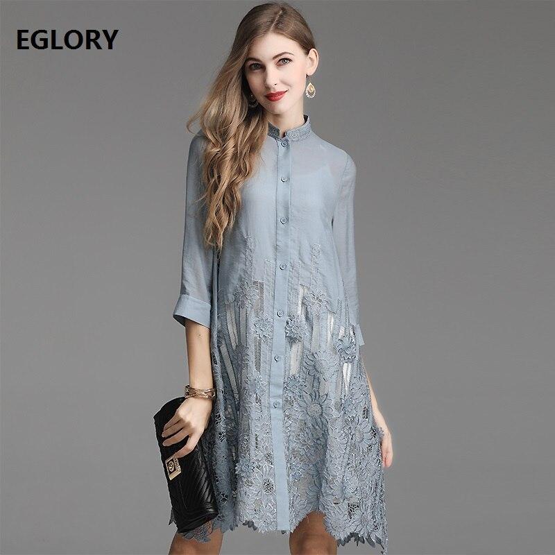Top qualité robe nouveau 2019 printemps été robe de grande taille 4XL taille femmes évider broderie Vintage longue chemise robe femme