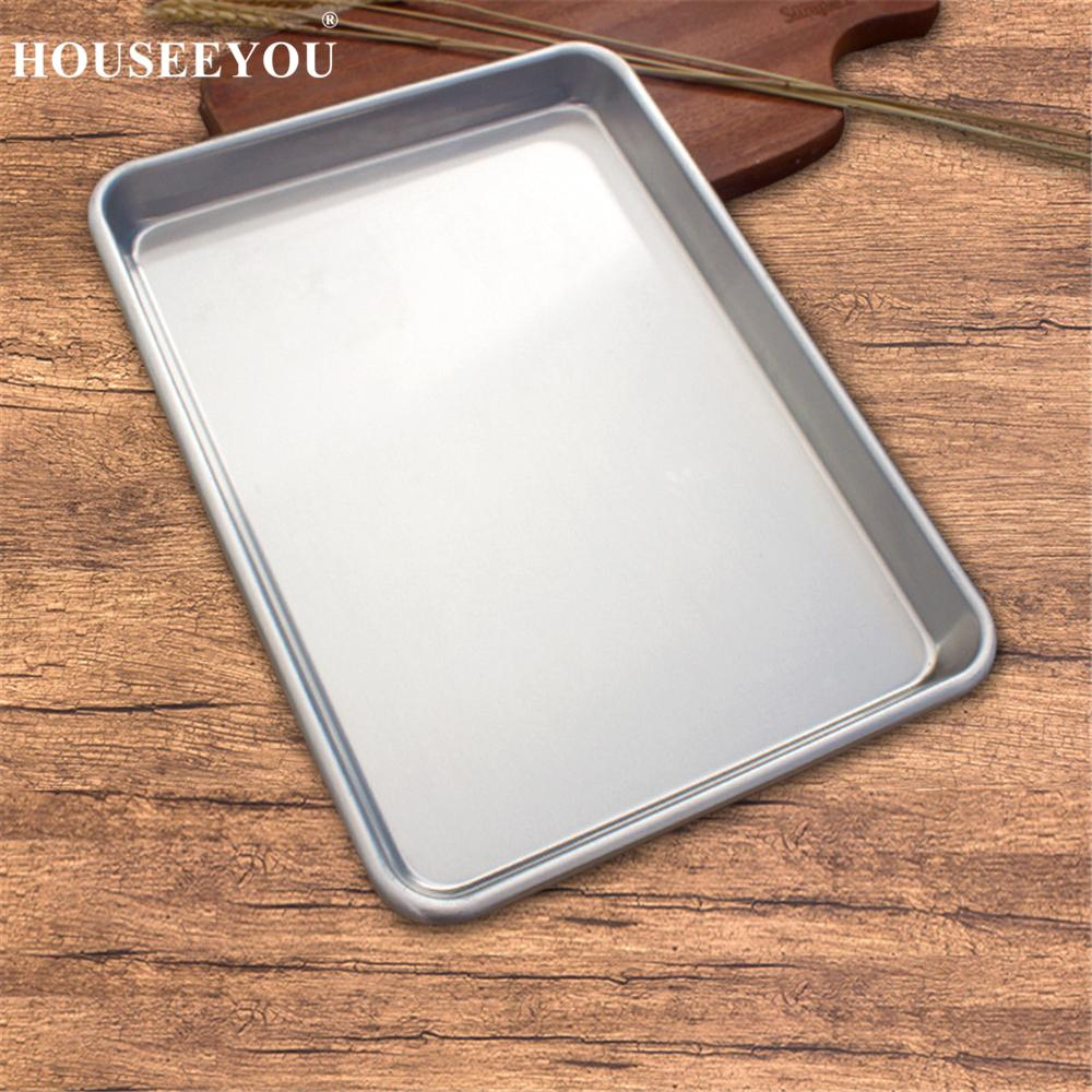 Baking Tray Rectangle Oven Baking Form Aluminium Cake Pan S/L Size Non -Stick Biscuit Cookie Macaroon Pastry Tools Bakeware Set