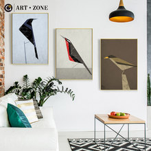 ART ZONE Abstract Bird Animal Painting Color Geometric Wall Art Poster Home Decor Living Room Bedroom Art Poster Picture(China)