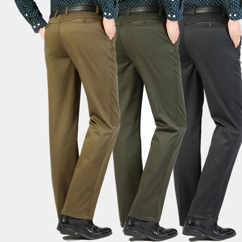 Autumn Men Cotton Pants Slim Casual Business Pants Regular Straight Pants Black Army Green Men Fashion Big Size Casual Trousers