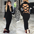 BKLD New 2016 Women Autumn Winter Sexy Causal Dresses Slim Turtleneck Sexy Backless Bodycon Long Sleeve Package Hip Dresses