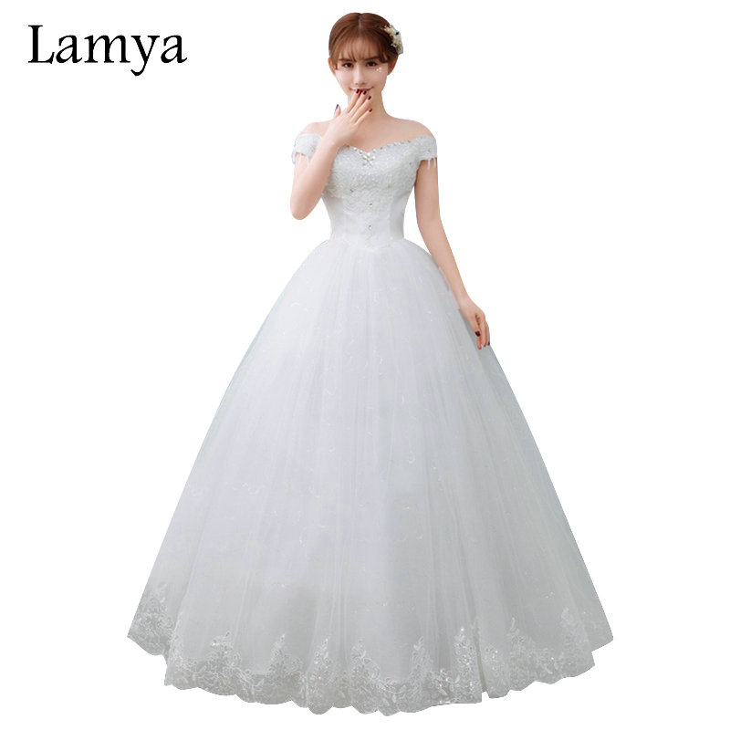 LAMYA Plus Size Cheap Crystal Wedding Dress 2019 Fashion Bridal Gowns Sexy Boat Neck Elegant vestido de noiva