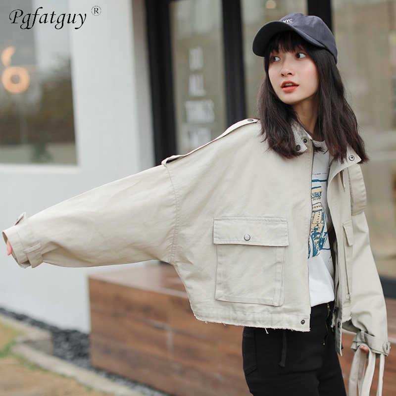 126b8bc95 Spring Women Big Pocket Cargo Denim Jacket 2019 Boyfriend Wind Jean Jacket  Loose Long Sleeve Female Jeans Coats Army Green Beige