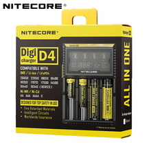 100% Original Nitecore D4 Battery Charger LCD Intelligent Charger Li ion 18650 14500 16340 26650 AAA AA 12V