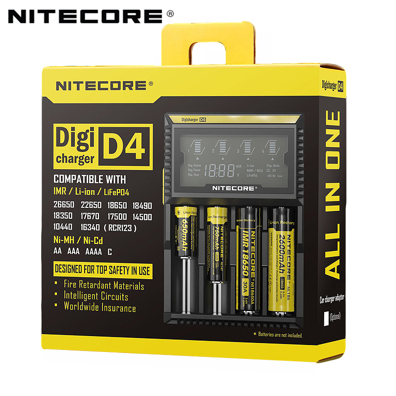 100% Original Nitecore D4 Battery Charger LCD Intelligent Charger Li ion 18650 14500 16340 26650 AAA AA 12V