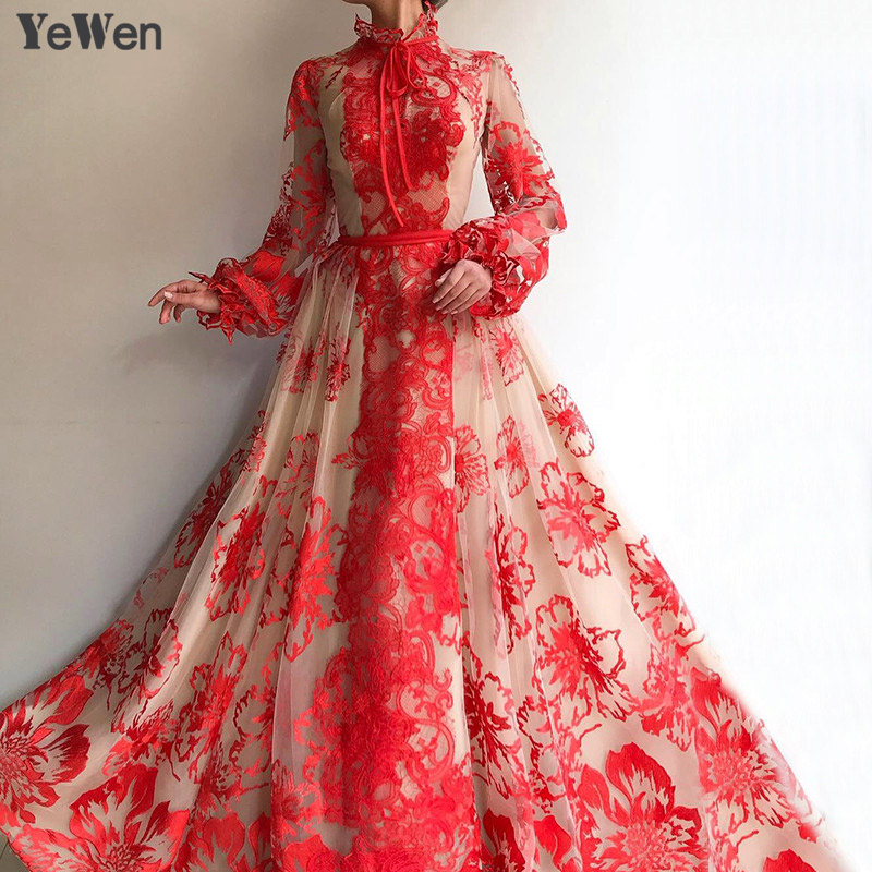 Red High Collar Beach Tulle   Evening     Dresses   2019 Long Sleeves Handmade Flowers   Evening   Gowns Women Floral   Dress     Evening   Party