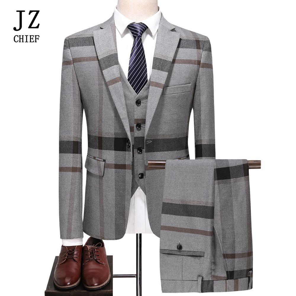JZ CHIEF 3 Piece Suits Mens Wedding Suits Single Breasted Plaid Casual Business Fashion High Quality Groom Suits Slim Masculine