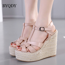 BYQDY Women Sandals Summer 2019 Platform Sandals High Heels Shoes Ankle Strap Ladies Sandals Casual Footwear Pink Black Discount все цены