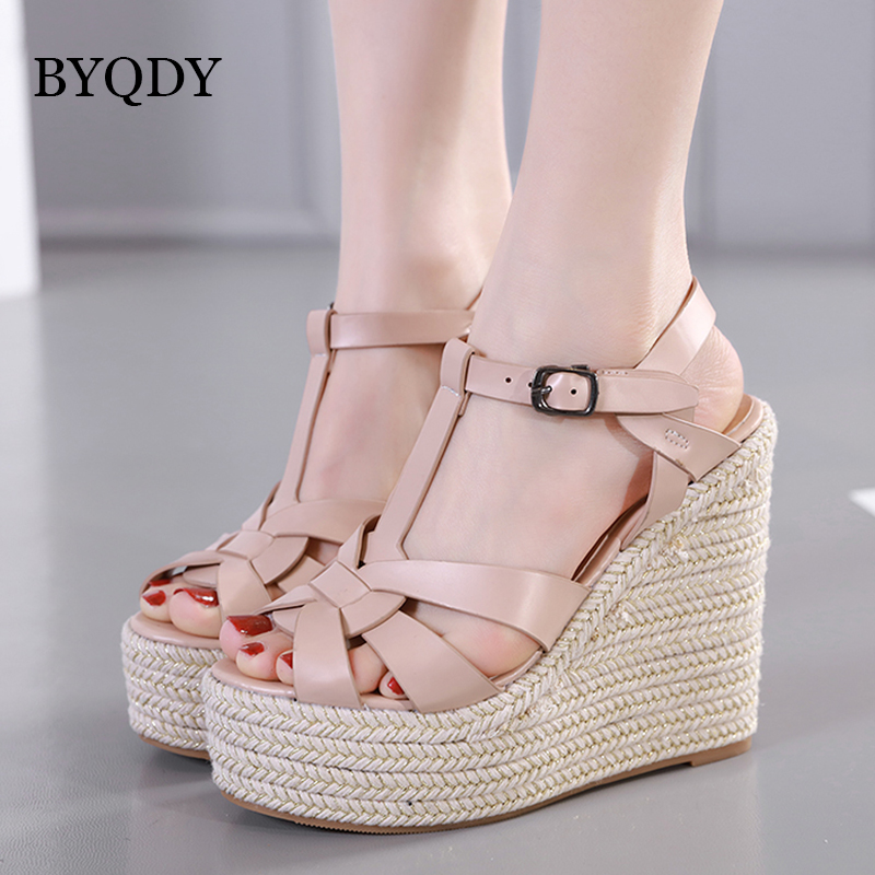 BYQDY Women <font><b>Sandals</b></font> Summer 2019 <font><b>Platform</b></font> <font><b>Sandals</b></font> <font><b>High</b></font> <font><b>Heels</b></font> Shoes Ankle Strap Ladies <font><b>Sandals</b></font> Casual Footwear Pink Black Discount image