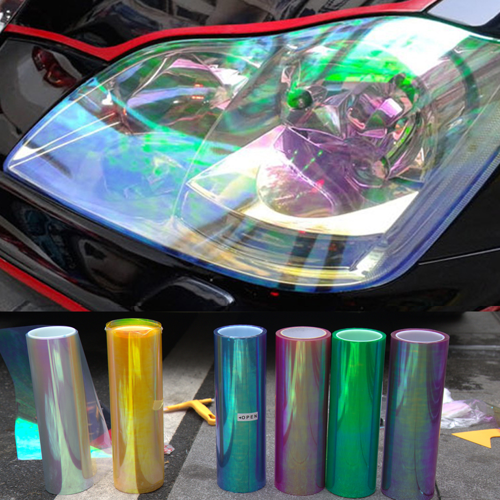 120*30cm Shiny Chameleon Auto Car Styling Headlights Taillights Translucent Film Lights Turned Change Color Car Film Stickers