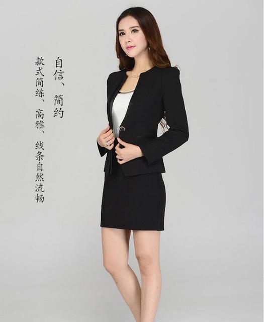 Últimas mulheres da moda primavera saia tamanho grande terno elegante slim com decote em v de manga comprida pure color profissional fino terno de saia D-0986