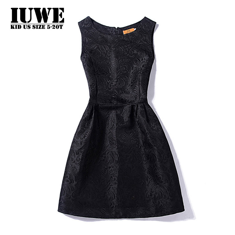 Girl Dress Summer 2016 Dresses For Girls Of 12 Years Sleeveless Solid Black Big Size Brand Princess Dress Teenager Girls Clothes summer girl dress 2016 kids dresses for girls of 12 years sleeveless printed big size black dress teenagers girl dresses robe14