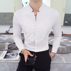 Fall Winter Stand Collar Mens Long-sleeved Dress Shirts Black Red White Slim Elegant Youth Male Business Wedding Formal Shirt 4