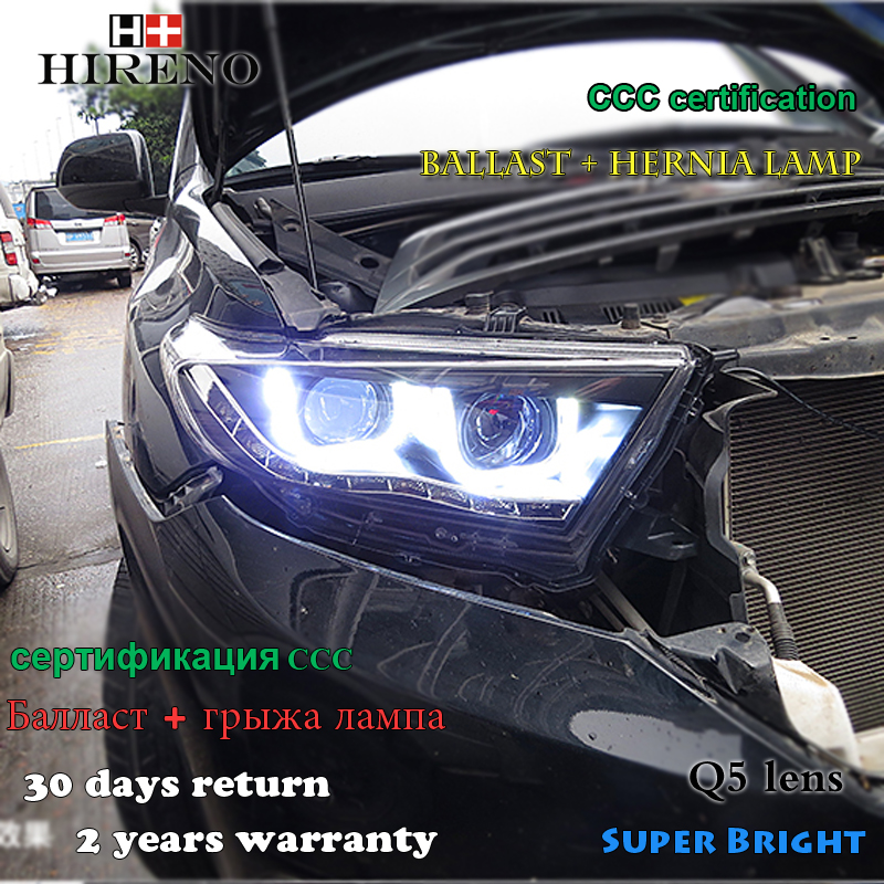 Hireno Headlamp for 2012-2014 Toyota Highlander Headlight Assembly LED DRL Angel Lens Double Beam HID Xenon 2pcs