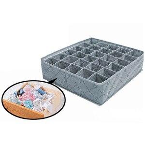 Image 3 - Organizer Portable 30 Grid Foldable Storage Box For Home Gadget Non woven Storage Bra Underwear Socks Finishing Box Organizador