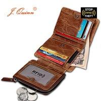 J.Quinn Short RFID Wallets Removable Zipper Coin Pocket 13 Cards Mini SIM Genuine Leather Mens Wallet Fashion Retro Hasp Trifold