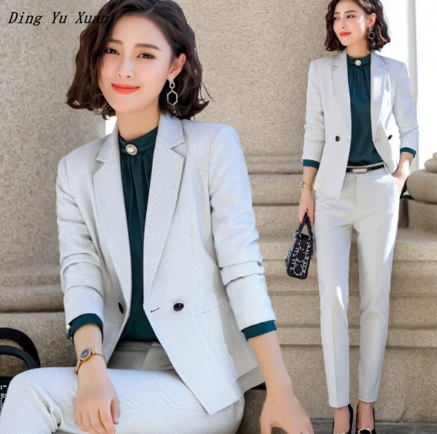 2019 New Fashion 2 Piece Set Women Pant Suits Slim Work Wear Office Ladies Long Sleeve Blazer and Pants Outfits Navy Blue White