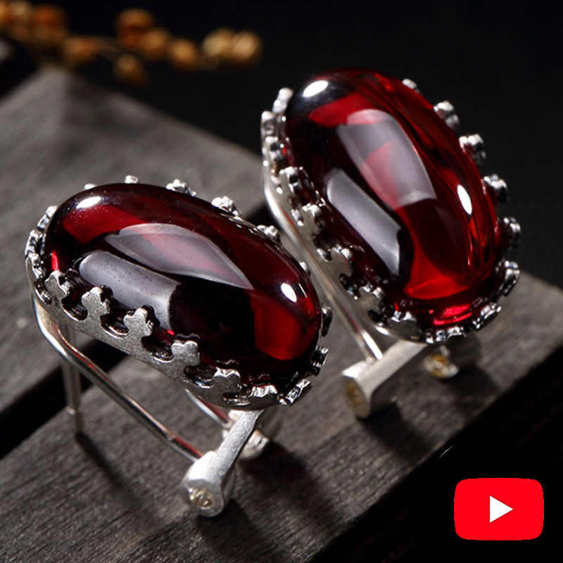 NOT FAKE S925 Fine Jewelry Ruby Stud Earrings Women Handmade big stone Art Vintage Natural Carnelian Retro   Ruby red jasper