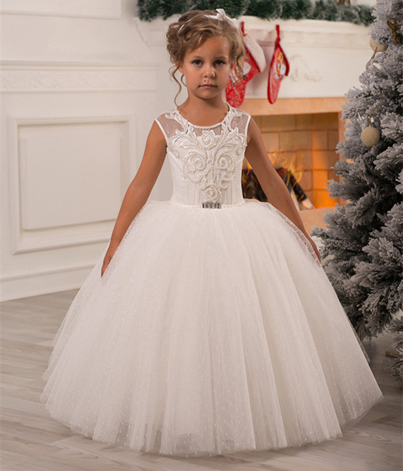 White Ivory Shiny Pearls Flower Girl Dresses for Girls Ball Gown Lace Up First Communion Dress Birthday Gowns Custom Made цена