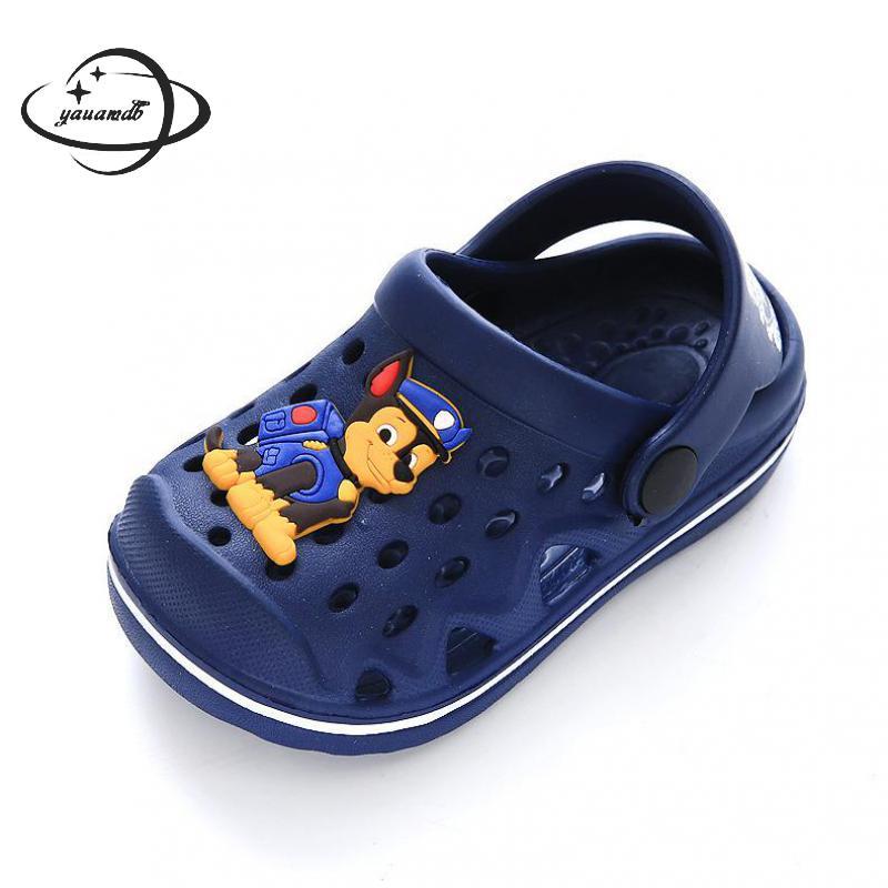 YAUAMDB kids Mules   Clogs 2018 summer PVC boys girls flat with sandals  cartoon dog wearable beach casual children shoes zy13 87d646a9310