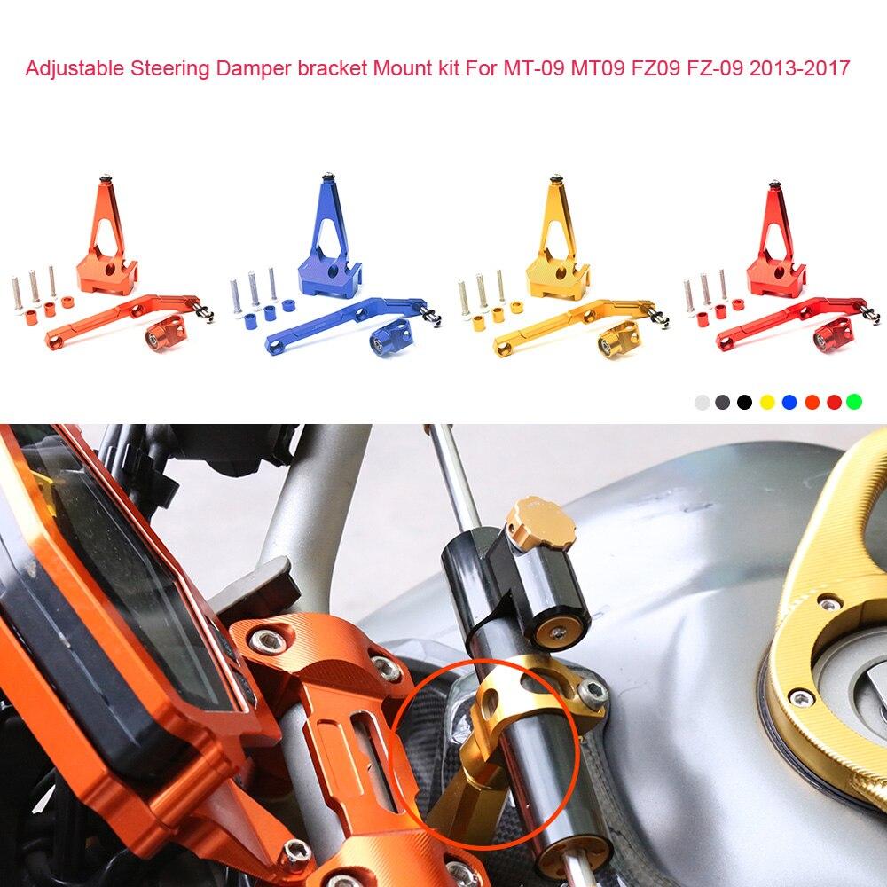 Motorcycle CNC Aluminum Adjustable Steering Stabilize Damper bracket Mount kit For YAMAHA MT-09 MT09 FZ09 FZ-09 2013- 2017