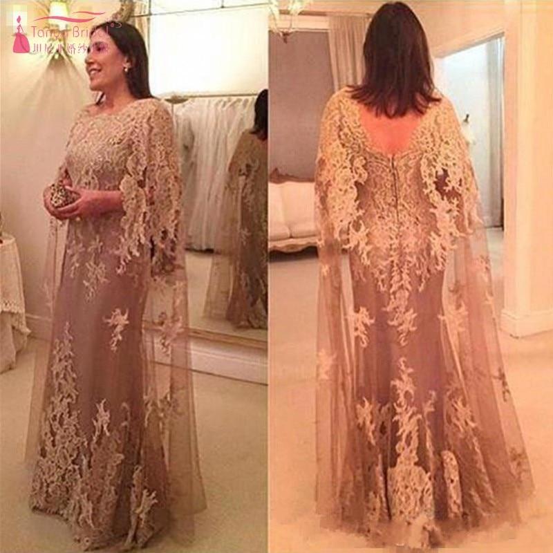 Nouvelles robes de soirée arabe longue sirène avec Cape Illusion cou dentelle longues robes de bal formelles