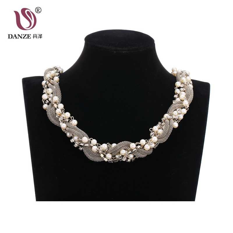 DANZE Fashion Alloy Chain Round Simulated Pearl Twist Choker Necklace For Women Bohemian Crystal Jewelry 2018 Drop Ship
