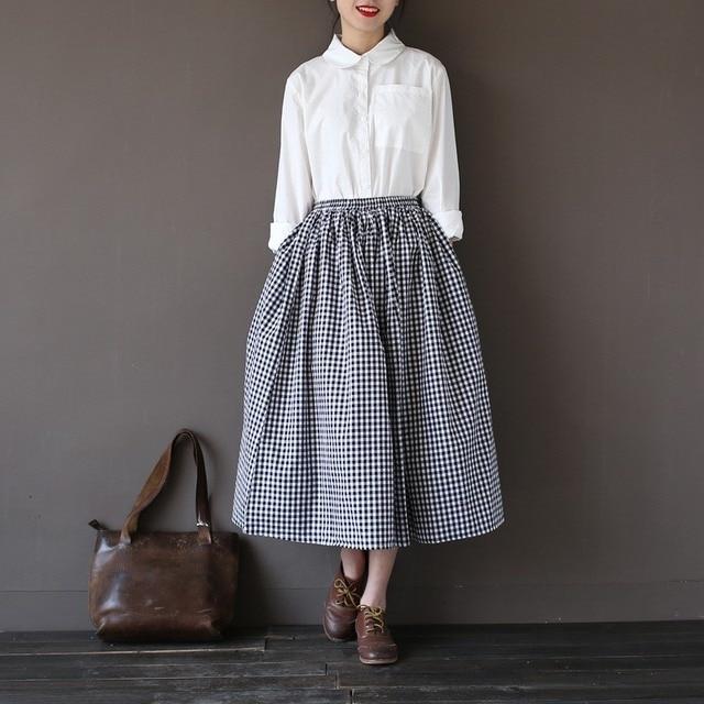 344aa656c69cf7 Mädchen dame mode vintage leinen baumwolle röcke beiläufige plaid lange  röcke eine leinen elastische lose baumwolle