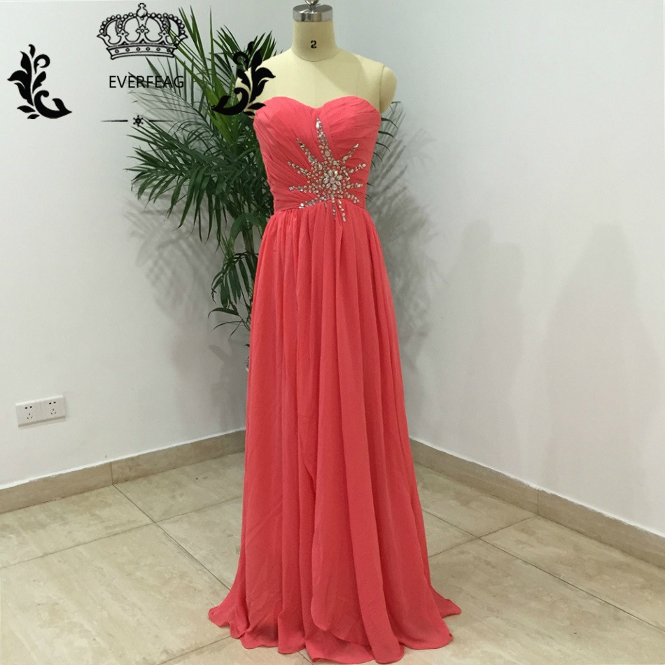 Buy cheap strapless floor length chiffon coral bridesmaid dress - Cheap Long Chiffon Coral Bridesmaid Dresses Sexy Off Shoulder Lace Up Floor Length Crystal Pleat Maid