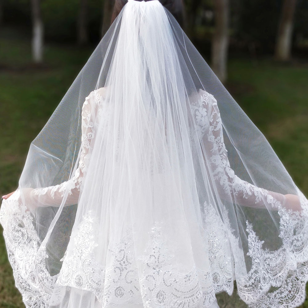 Real Photos 2 Layers Sequins Lace 3 Meters Cathedral Woodland Wedding Veils with Comb 3M Long White Ivory 2 T Bridal Veils