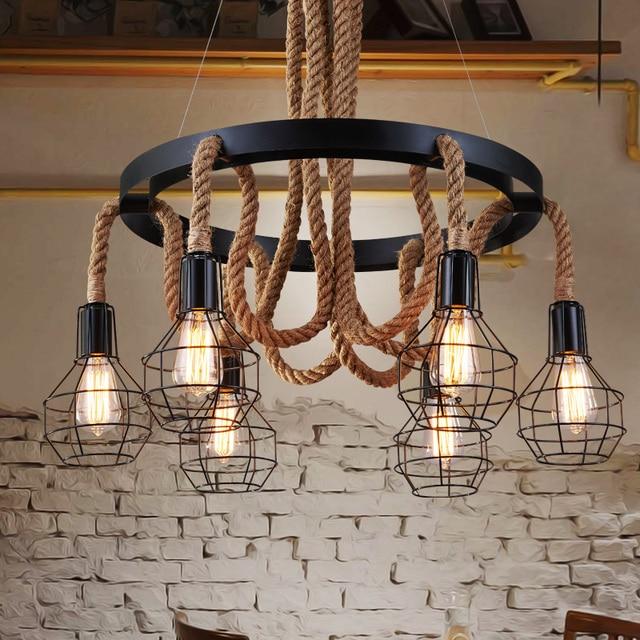 Bedwelming Vintage touw hanglampen nordic retro restaurant eetkamer lamp &WH72