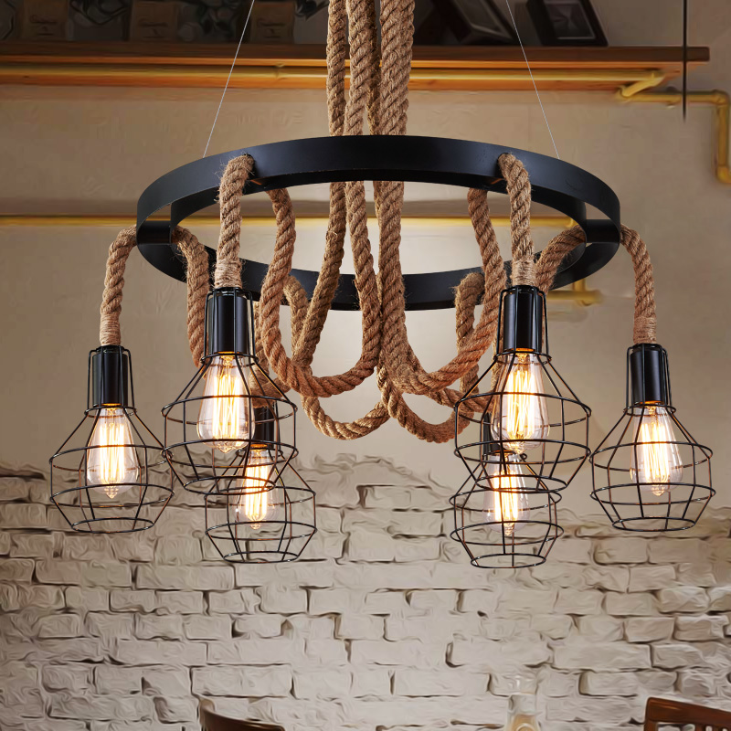 Vintage Rope Pendant Lights Nordic Retro Restaurant Dining