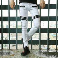 2017 Spring White Elastic Jeans Mens Summer Slim Casual Personality Korean Fashion Splice Stripe Denim Trousers
